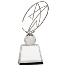 Crystal Award with Silver Metal Oval Star